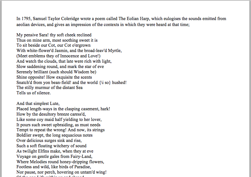 analyse poem eolian harp samuel taylor coleridge and comme